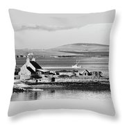 St. Margarets Hope, Orkney.    Black And White Throw Pillow