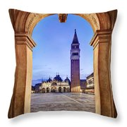 St Mark's Square Arch - Venice Throw Pillow by Barry O Carroll