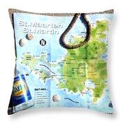 St. Martin St. Maarten Map Throw Pillow