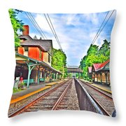 St. Martins Train Station Throw Pillow
