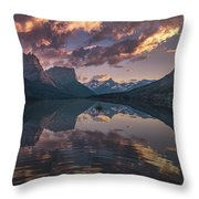 St Mary Lake At Dusk Panorama Throw Pillow