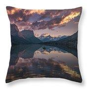 St Mary Lake At Dusk Panorama Throw Pillow