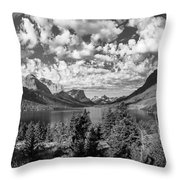 St Mary Lake Glacier National Park Panoramic Throw Pillow