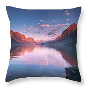 St Mary Lake In Early Morning With Moon Throw Pillow
