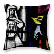 St Mary Redcliffe Stained Glass Close Up C Throw Pillow