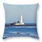 St Mary's Lighthouse Whitley Bay Throw Pillow