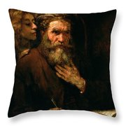 St Matthew And The Angel Throw Pillow by Rembrandt Harmensz van Rijn