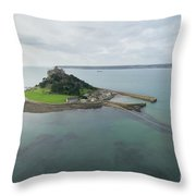 St Michaels Mount Aerial Throw Pillow