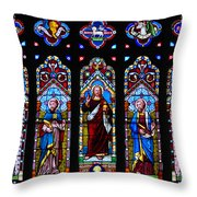 St. Michael's Parish Stained Glass Throw Pillow