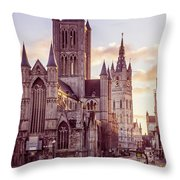 St. Nicholas Church, Gent Throw Pillow