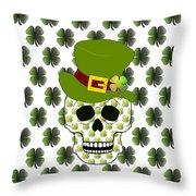 St Paddys Skull  Throw Pillow