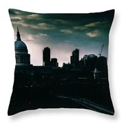 St Paul's Cathedral And Millennium Bridge In The Evening In London, England Throw Pillow
