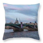 St. Paul's Cathedral Behind The Southwark Bridge During Sunset Throw Pillow