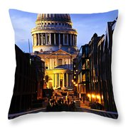 St. Paul's Cathedral From Millennium Bridge Throw Pillow by Elena Elisseeva