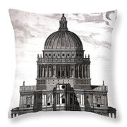 St. Pauls Drawn By Christopher Wren Throw Pillow