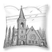 St Pauls Lutheran Church Red Hook Ny Throw Pillow by Richard Wambach