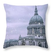 St Pauls Snow Throw Pillow