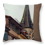St. Peter Tower Zurich Switzerland Throw Pillow by Susanne Van Hulst