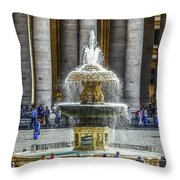 St. Peter's Square Fountain At The Vatican Throw Pillow