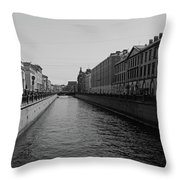 St Petersburg Waterway - Black And White Throw Pillow