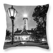 St. Simons Lighthouse Black And White Throw Pillow