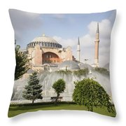 St Sophia Mosque And Fountain In Park Throw Pillow