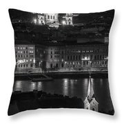 St Stephens Basilica Night Bw Throw Pillow