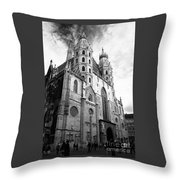 St Stephens Cathedral Vienna In Black And White Throw Pillow