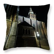 St. Steven's Church In Nijmegen At Night Throw Pillow