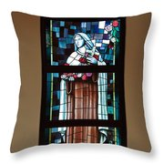 St. Theresa Stained Glass Window Throw Pillow