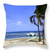 St Thomas Beach Hamocks And Boats Iggys Throw Pillow
