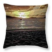 St Thomas - Dusk At Magans Bay Throw Pillow
