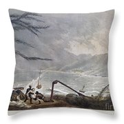 St. Thomas: Hurricane, 1819 Throw Pillow