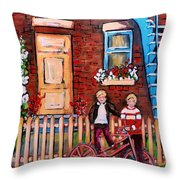 St. Urbain Street Boys Throw Pillow