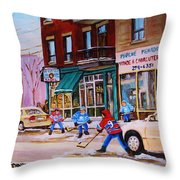 St. Viateur Bagel With Boys Playing Hockey Throw Pillow