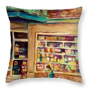 St Viateur Street Montreal  Throw Pillow