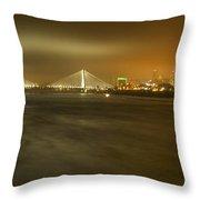 Sta Musial Bridge And St Louis Skyline Throw Pillow