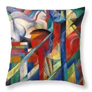 Stables By Franz Marc Bright Painting Of Horses In A Stable Throw Pillow