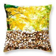Stack Of Firewood Throw Pillow