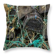Stacked Crab Traps Throw Pillow