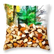 Stacked Fire Wood In Preparation For Winter 1 Throw Pillow
