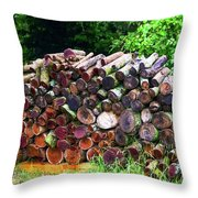 Stacked Firewood Throw Pillow