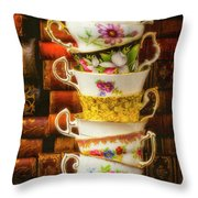 Stacked High Tea Cups Throw Pillow
