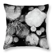 Stacked Wood Logs In Black And White Throw Pillow
