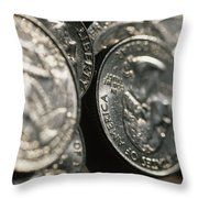 Stacks Of Quarters Stand Askew Throw Pillow by Stephen Alvarez