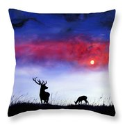Stag And Deer In Moonlight Throw Pillow
