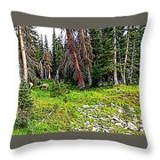 Stag Forest Throw Pillow