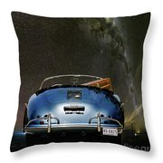Star Gazing,1955 Porsche 356a 1600 Speedster, Under The Milky Way Throw Pillow