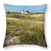 Stage Harbor Lighthouse Cape Cod Throw Pillow