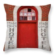 Stagecoach Hotel - Rustic Antique Red Door Home Country Southwest Throw Pillow